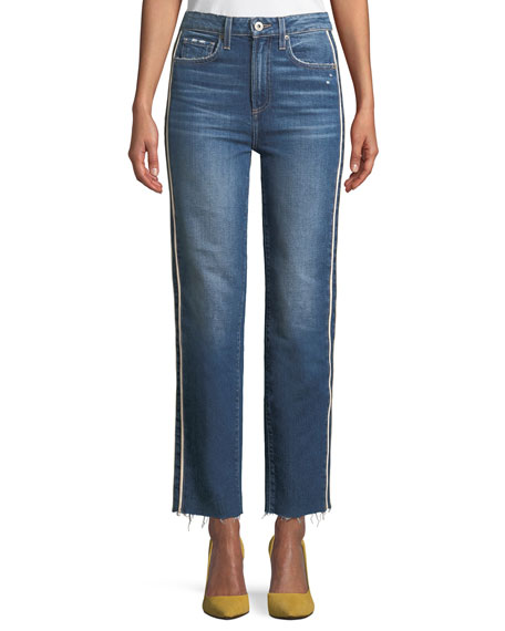PAIGE Hoxton Straight-Leg Raw-Edge Jeans w/ Piping