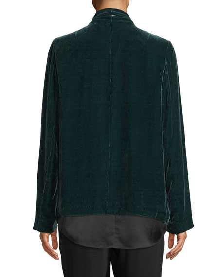 Image 3 of 3: Eileen Fisher Plus Size Velvet Open-Front Jacket