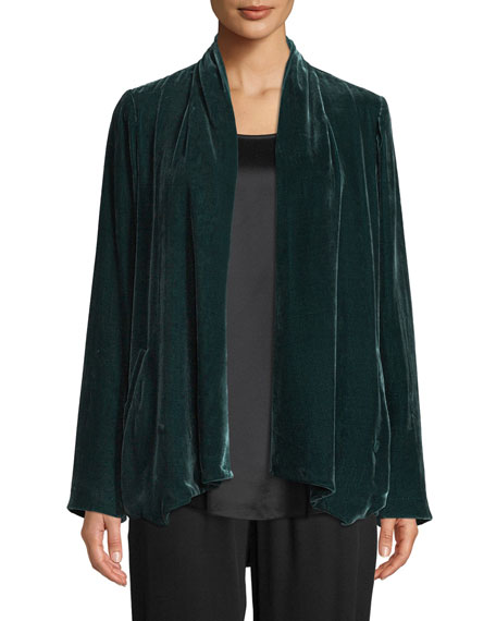 Image 1 of 3: Eileen Fisher Plus Size Velvet Open-Front Jacket