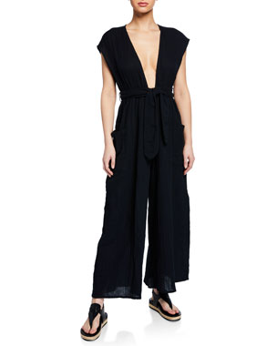 dc4ea8002d Mara Hoffman Plus Size Whitney Plunging Cap-Sleeve Wide-Leg Cotton Gauze  Jumpsuit