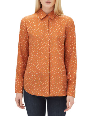 a301a85af58e29 Lafayette 148 New York Scottie Brilliant Boxes Long-Sleeve Silk Blouse.  Favorite. Quick Look