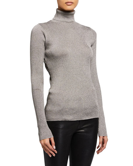 Image 2 of 4: Ribbed Metallic Turtleneck Pullover Sweater