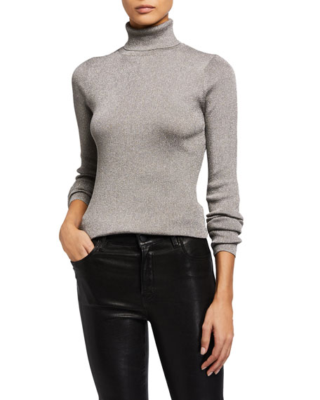 Image 1 of 4: Ribbed Metallic Turtleneck Pullover Sweater