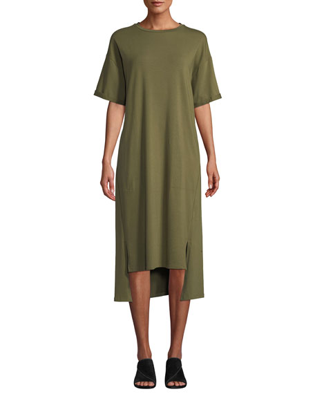 Eileen Fisher Short-Sleeve Stretch Jersey High-Low Dress