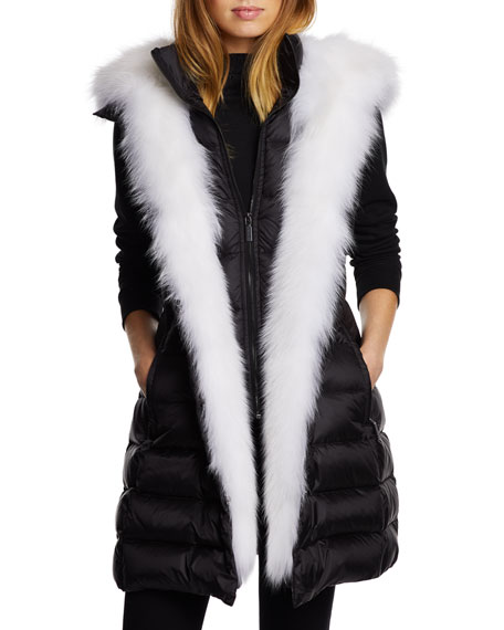 Dawn Levy Traveler Fox-Fur Trim Vest