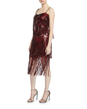 7a51ab99 Dress The Population Roxy Sequin Fringe Sleeveless Dress