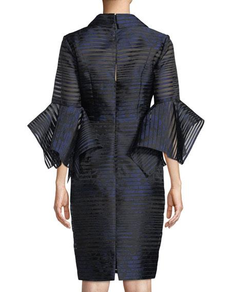 Badgley Mischka Collection Sheer Striped Trumpet-Sleeve Shirtdress