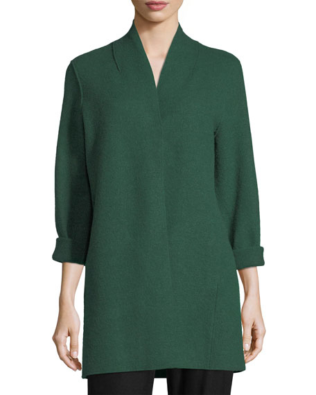 Eileen Fisher Plus Size High-Collar Open-Front Boiled Wool Coat