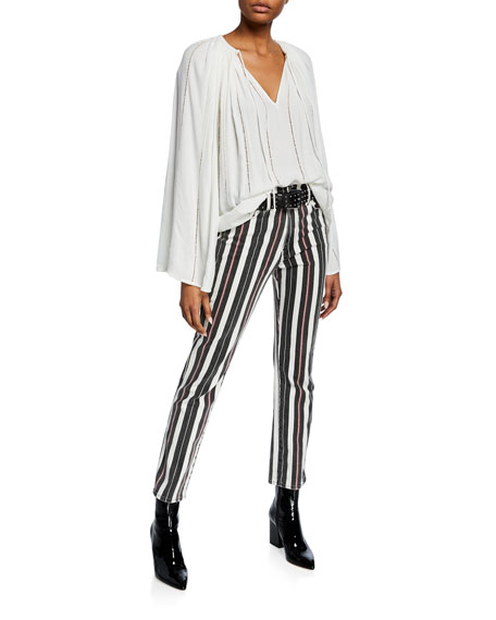 FRAME Le Sylvie Striped High-Rise Cropped Jeans