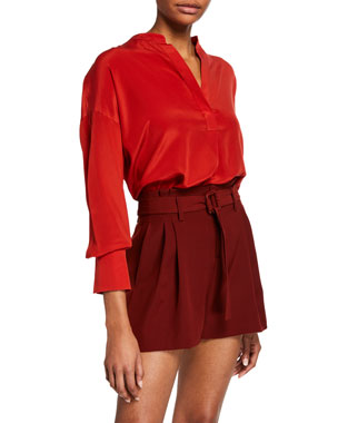 676f69cf0f503 Vince Band-Collar Silk Popover Blouse