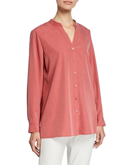 Eileen Fisher Sand-Wash Band-Collar Long-Sleeve Shirt