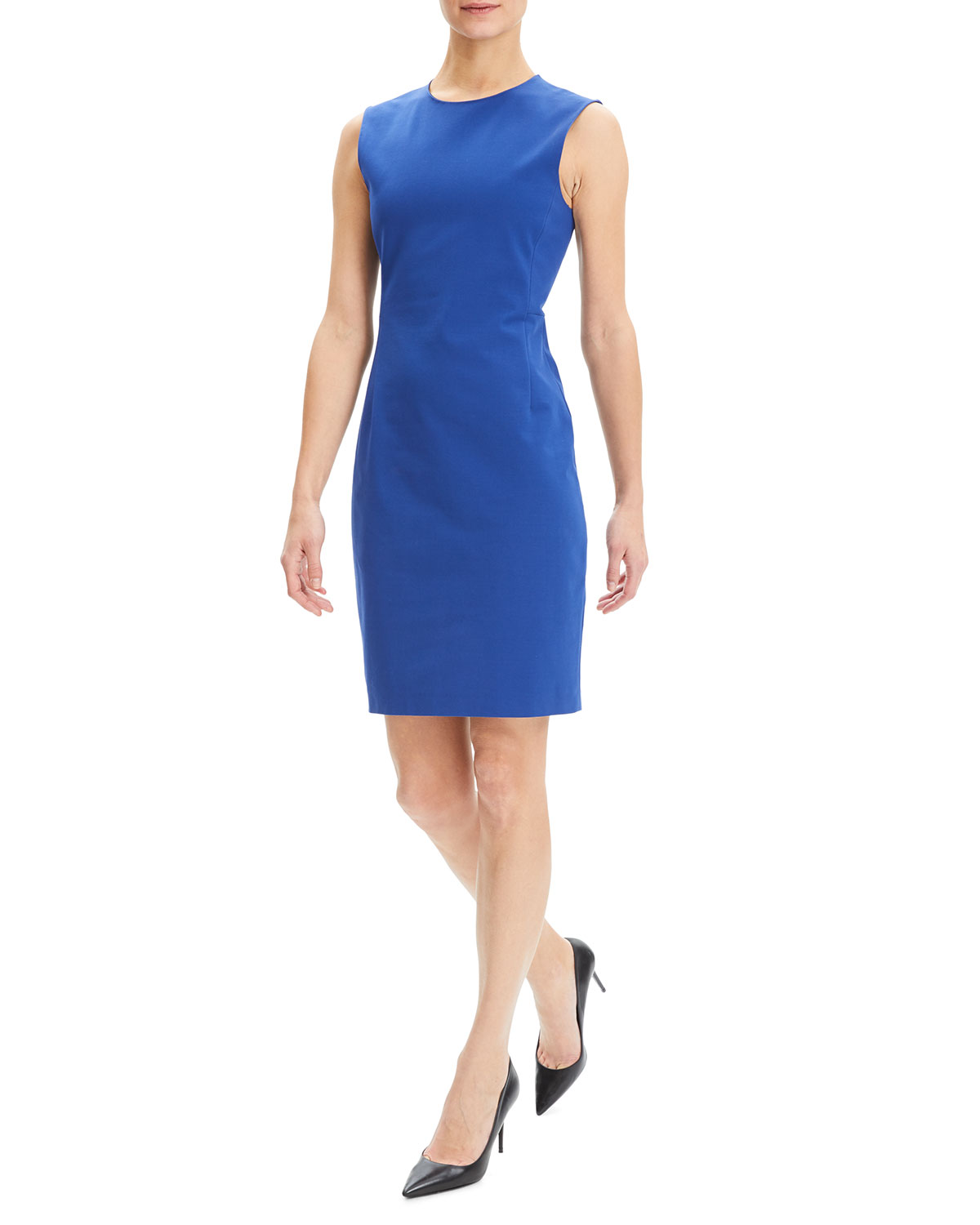49e256d4e2 Theory Crewneck Sleeveless Fitted Double Stretch Dress   Neiman Marcus