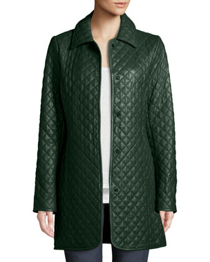 5f64304e999 Neiman Marcus Leather Collection Plus Size Quilted Lamb Leather Trench Coat