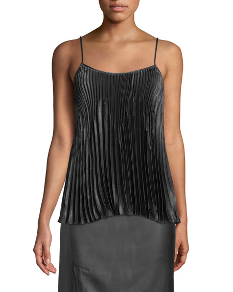 Vince Pleated Square-Neck Tank
