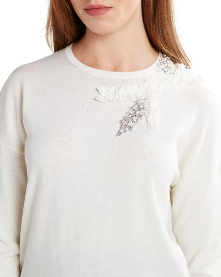 Elie Tahari Lael Embellished-Shoulder Sweater