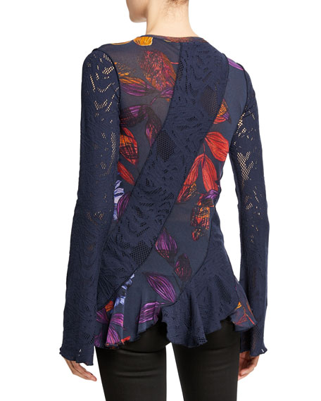 Fuzzi Long-Sleeve Patchwork Lace Top