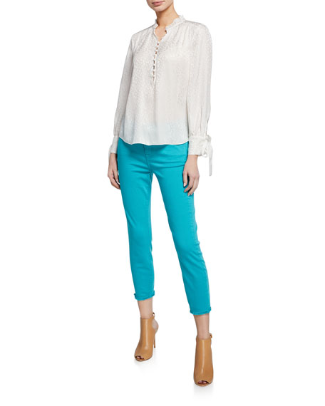 Image 3 of 3: Cropped Skinny Jeans with Frayed Hem