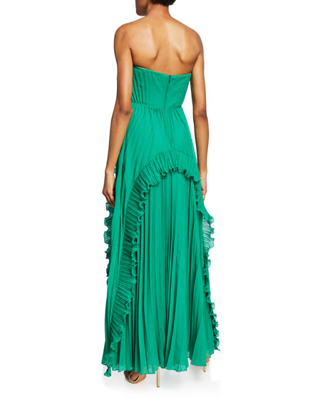 Halston Heritage Strapless Pleated Gown with Ruffles