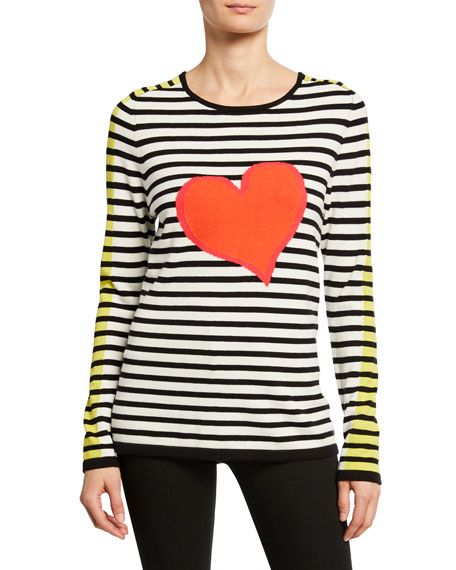 Lisa Todd Striped Double Heart Intarsia Cotton Sweater