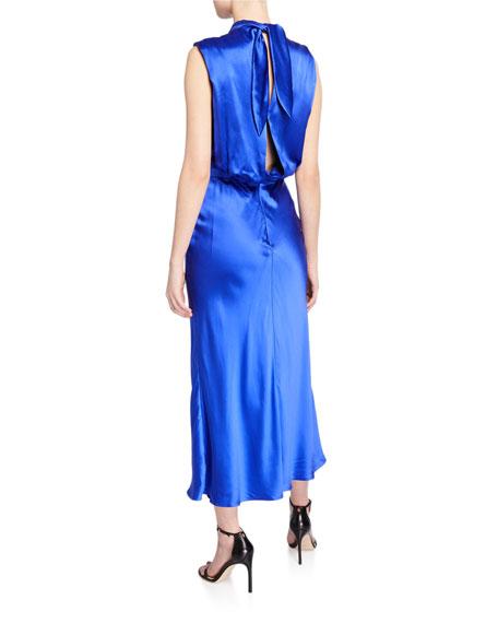 Saloni Fleur Silk Tie-Back Midi Dress