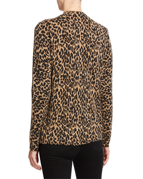 Neiman Marcus Cashmere Collection Leopard-Print Cashmere Long-Sleeve Mock-Neck Sweater