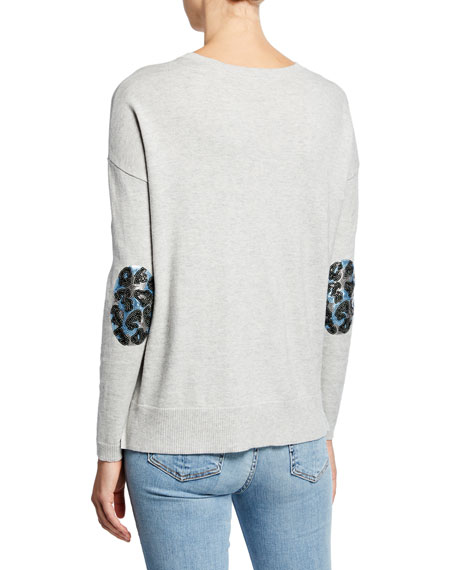 Lisa Todd Petite Patch Perfect V-Neck Cotton/Cashmere Sweater w/ Sequin Elbow Patches