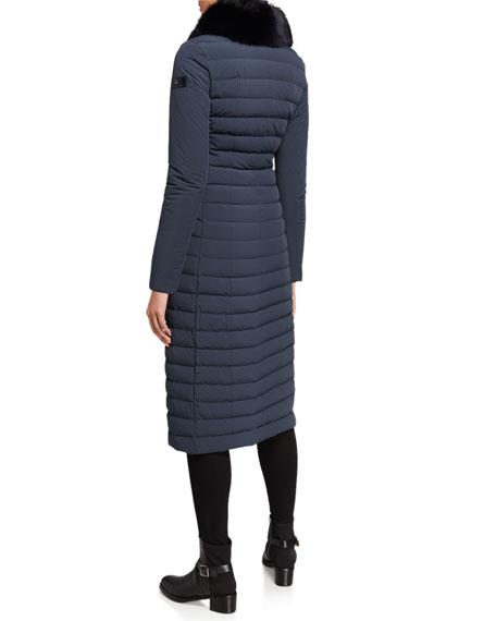 Peuterey Zambla Detachable Fox Fur-Collar Long Puffer Coat