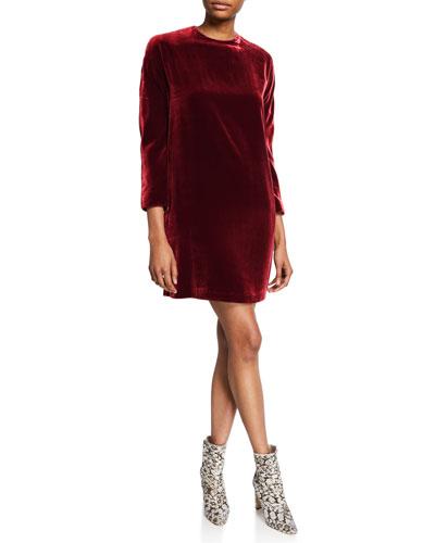 Long-Sleeve Velvet Short Dress