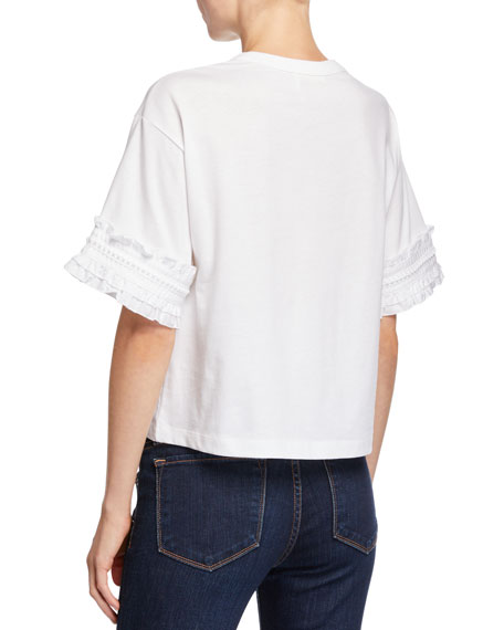 See by Chloe Crewneck Cotton Tee with Frill Sleeves