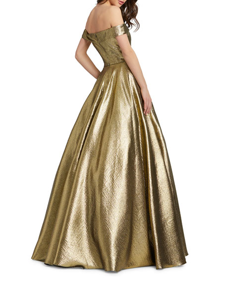 Image 2 of 2: Mac Duggal Off-the-Shoulder Metallic Ball Gown with Pockets