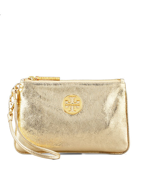 Metallic Leather Wristlet