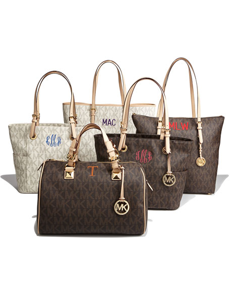 Logo-Print Signature Monogram Tote Bag, Brown