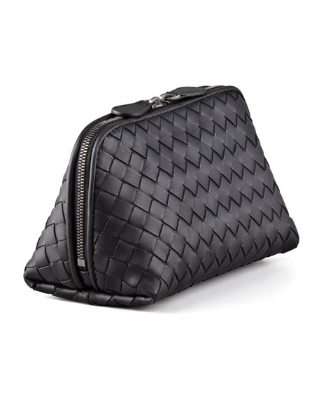 Woven Leather Medium Cosmetics Case