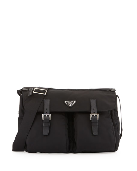 Prada Vela Buckled Messenger Bag, Black (Nero)