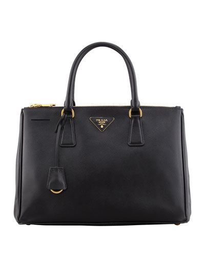 Saffiano Double-Zip Executive Tote Bag, Black (Nero)