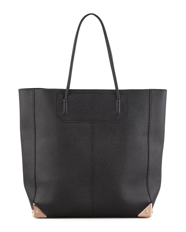 Prisma Leather Tote Bag Black Rose Gold