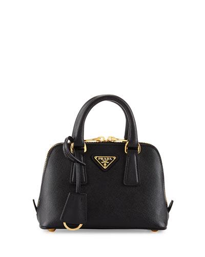 Prada Saffiano Mini Promenade Bag, Black (Nero)