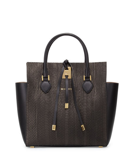 Large Snakeskin Leather Miranda Novelty Tote