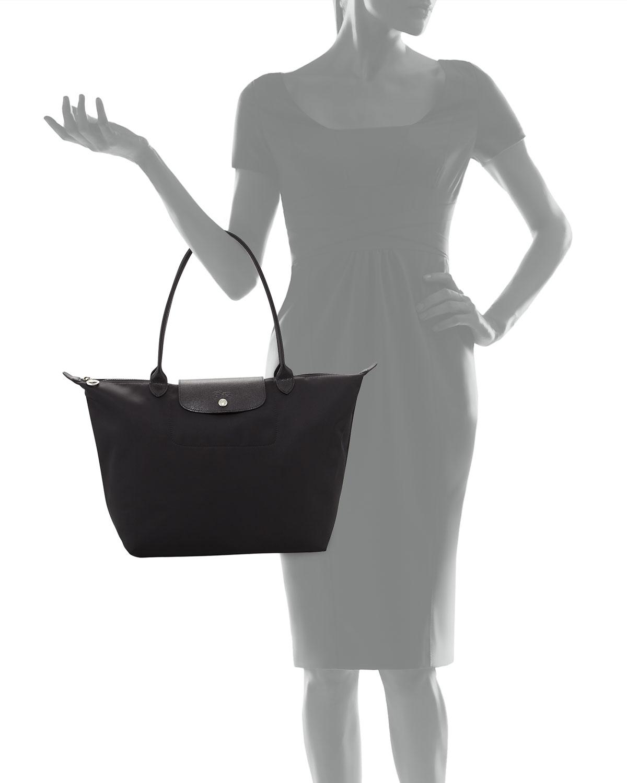 Le Pliage Neo Large Nylon Shoulder Tote Bag, Black