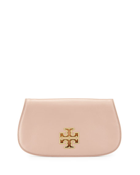 Tory Burch Britten Leather Clutch Bag, Indian Rose