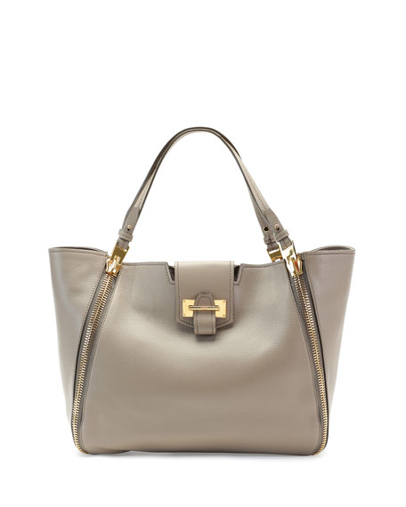 TOM FORD Sedgwick Medium Zip Tote Bag, Taupe