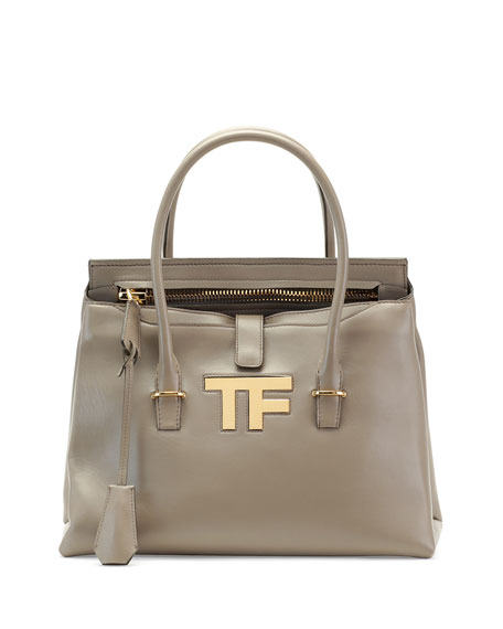 TOM FORD TF Icon Medium Satchel Bag, Taupe