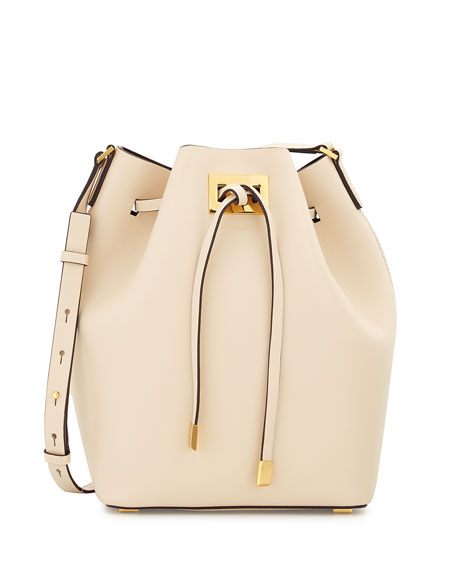 Miranda Large Drawstring Messenger Bag, Vanilla