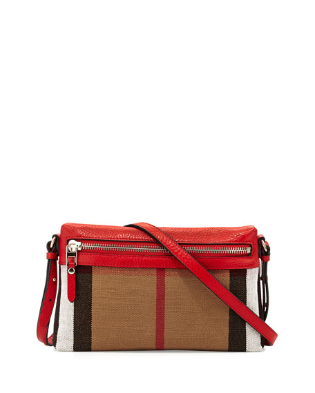 Check Canvas Crossbody Bag, Cadmium Red