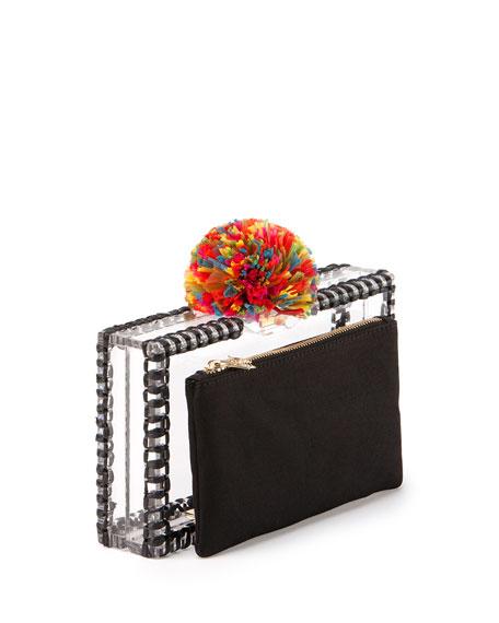 Pandora Pompom Clutch Bag, Clear/Black Multi