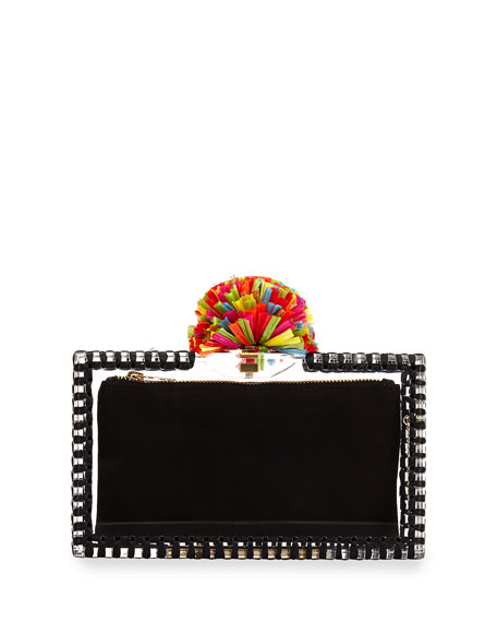 Charlotte Olympia Pandora Pompom Clutch Bag, Clear/Black Multi