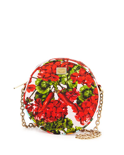 Glam Floral-Print Round Crossbody Bag
