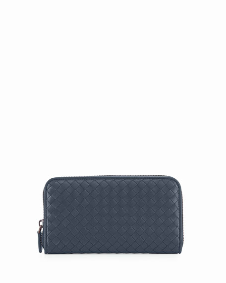 Bottega Veneta Continental Zip-Around Wallet, Navy
