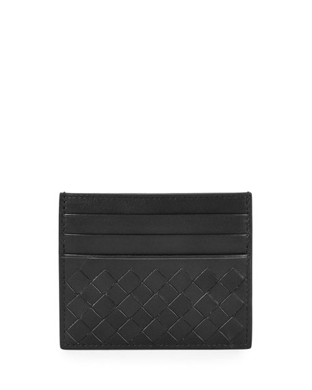 Bottega Veneta Intrecciato Leather Card Case, Black