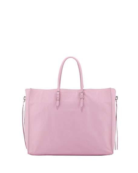 Papier A4 Side Zip Leather Tote Bag, Lavender Pink